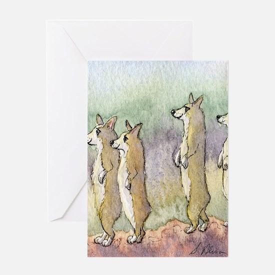 Corgi dogs having a meerkat moment Greeting Card