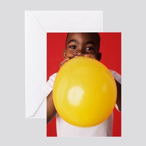 Blowing up a balloon Greeting Card