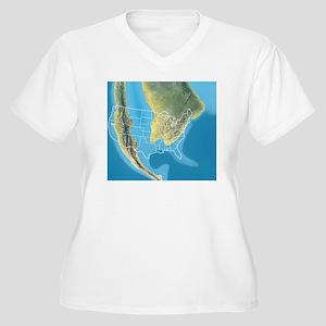 North America, Mi Women's Plus Size V-Neck T-Shirt