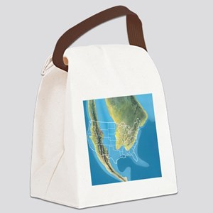 North America, Mid Cretaceous per Canvas Lunch Bag