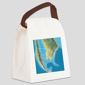 North America, Mid Cretaceous per Canvas Lunch Bag