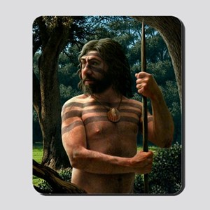 Neanderthal with shell ornament, artwork Mousepad