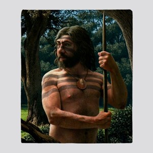 Neanderthal with shell ornament, art Throw Blanket