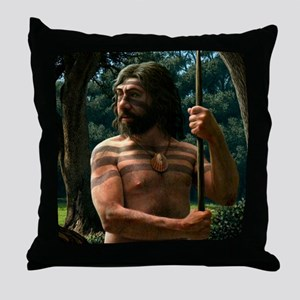 Neanderthal with shell ornament, artw Throw Pillow