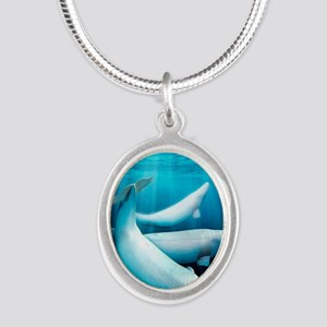 Beluga whales, artwork Silver Oval Necklace