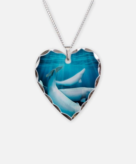 Beluga whales, artwork Necklace Heart Charm