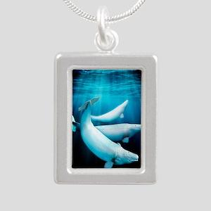 Beluga whales, artwork Silver Portrait Necklace