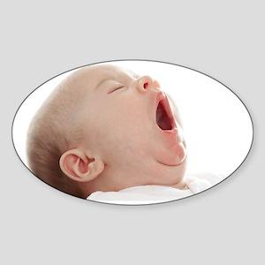 Baby yawning Sticker (Oval)