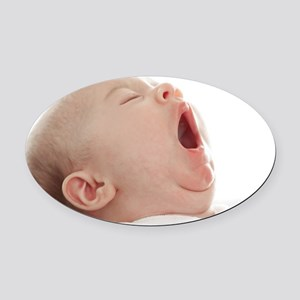 Baby yawning Oval Car Magnet