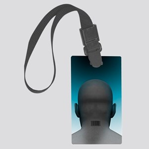 Barcoded man, artwork Large Luggage Tag