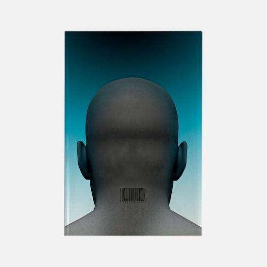 Barcoded man, artwork Rectangle Magnet