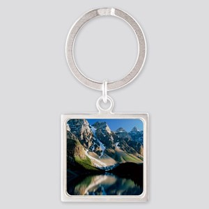 Mountains reflected in Moraine Lak Square Keychain