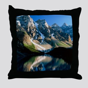 Mountains reflected in Moraine Lake,  Throw Pillow