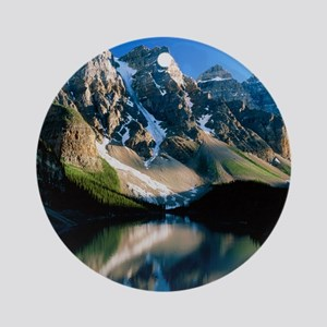 Mountains reflected in Moraine Lake Round Ornament