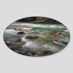 Mountain river in early spring, Bri Sticker (Oval)