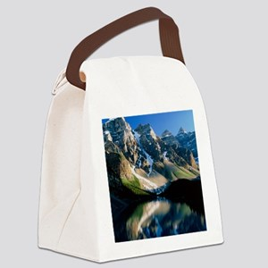 Mountains reflected in Moraine La Canvas Lunch Bag