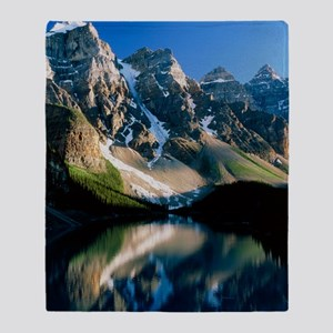 Mountains reflected in Moraine Lake, Throw Blanket