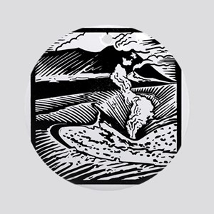 Mount Etna, woodcut Round Ornament