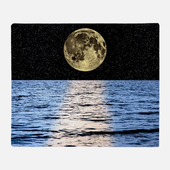 Moon over the sea, composite image Throw Blanket
