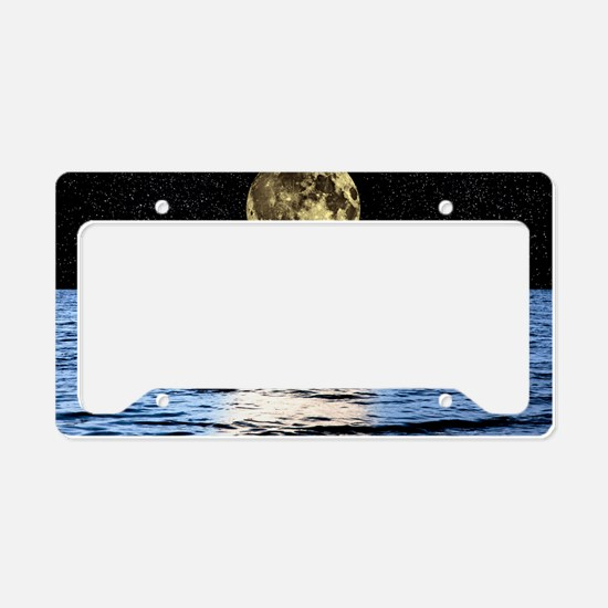 Moon over the sea, composite  License Plate Holder