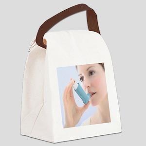Asthma inhaler use Canvas Lunch Bag