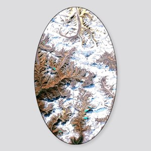 Mount Everest, satellite image Sticker (Oval)