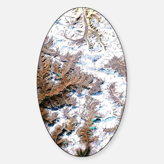 Mount Everest, satellite image Sticker (Oval)