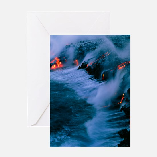 Molten lava flowing into the ocean Greeting Card