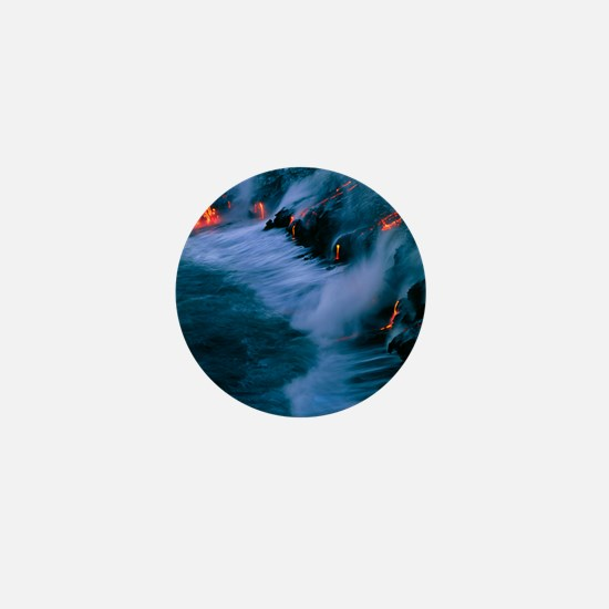 Molten lava flowing into the ocean Mini Button