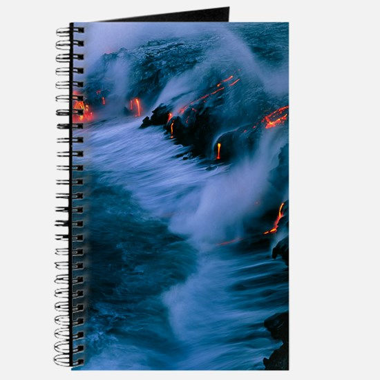 Molten lava flowing into the ocean Journal