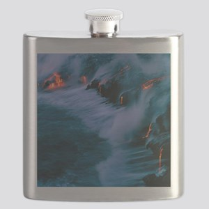 Molten lava flowing into the ocean Flask