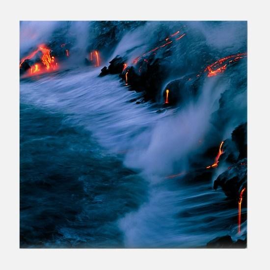 Molten lava flowing into the ocean Tile Coaster