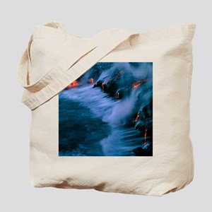 Molten lava flowing into the ocean Tote Bag