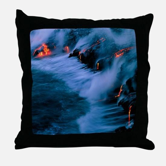 Molten lava flowing into the ocean Throw Pillow