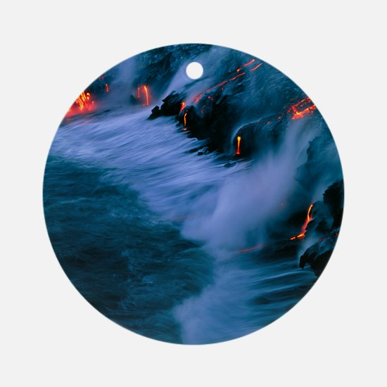 Molten lava flowing into the ocean Round Ornament