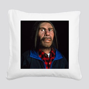 Model of a neanderthal man in Square Canvas Pillow
