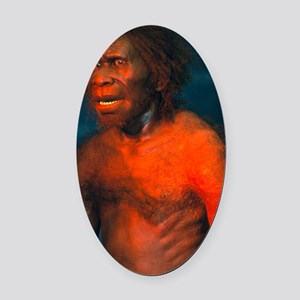 Model of a male Homo erectus man Oval Car Magnet