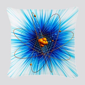 Atomic structure, artwork Woven Throw Pillow