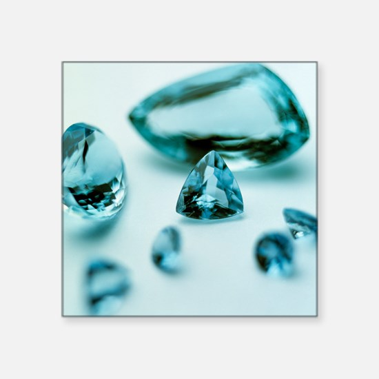 "Aquamarine gems Square Sticker 3"" x 3"""
