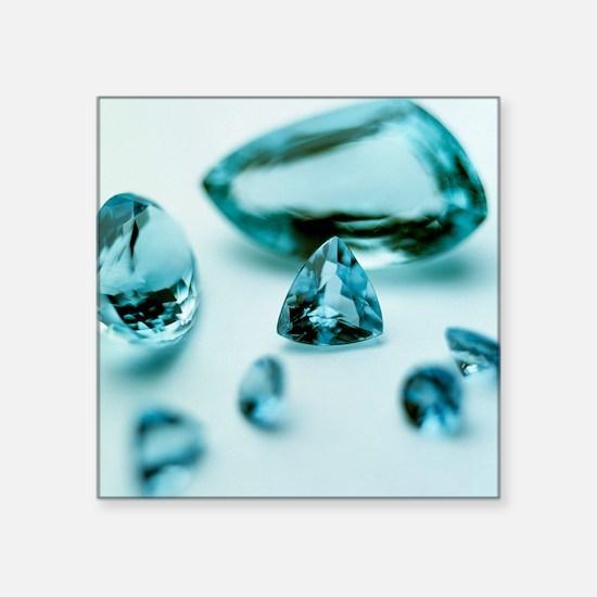 """Aquamarine gems Square Sticker 3"""" x 3"""""""