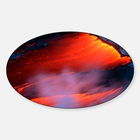 Molten pahoehoe lava spilling from  Sticker (Oval)