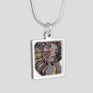 Ammonite Silver Square Necklace