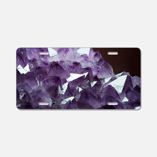 Amethyst crystals Aluminum License Plate