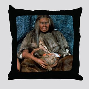 Model of a neanderthal woman holding  Throw Pillow