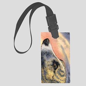Brindle whippet greyhound dog Large Luggage Tag