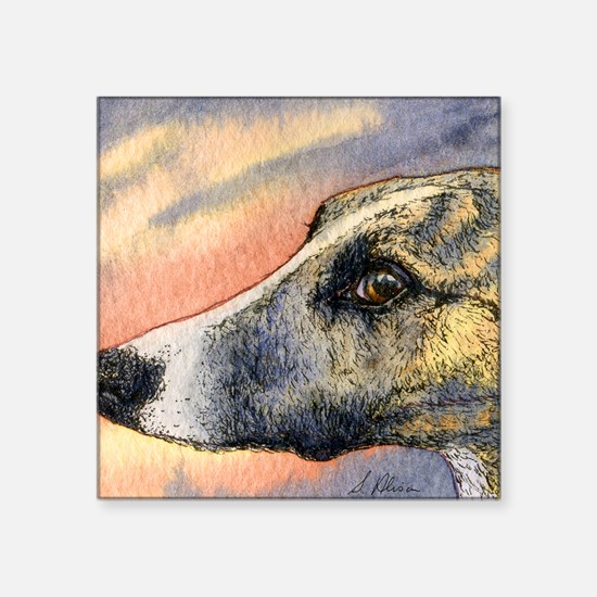 """Brindle whippet greyhound d Square Sticker 3"""" x 3"""""""