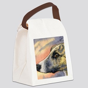 Brindle whippet greyhound dog Canvas Lunch Bag