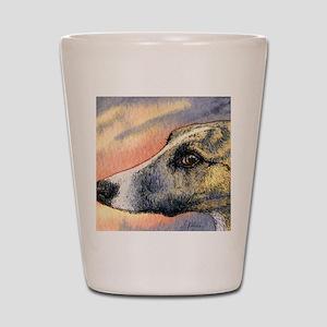 Brindle whippet greyhound dog Shot Glass