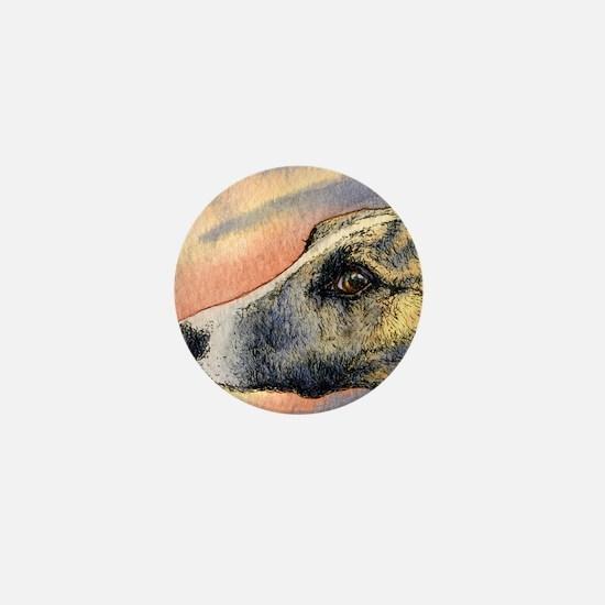Brindle whippet greyhound dog Mini Button
