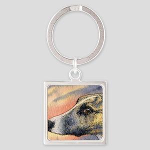 Brindle whippet greyhound dog Square Keychain
